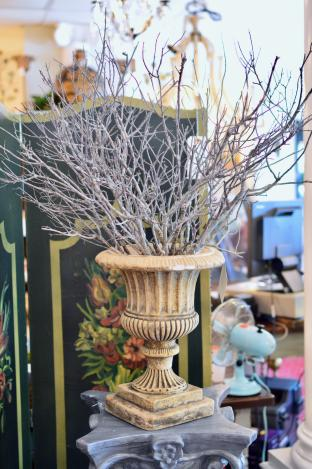 Vintage style terra cotta fluted urn w/ sea branches