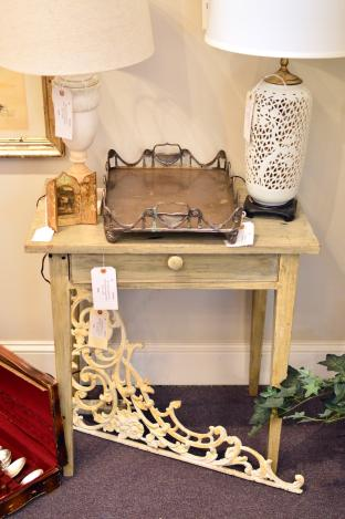 19th C. North Carolina paint decorated one drawer stand (paint is later)