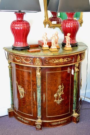 Bronze & marble top regency chest