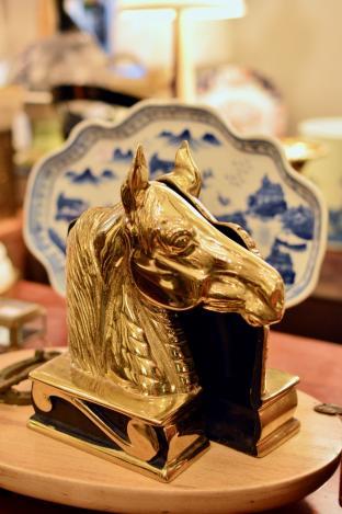 Brass horse head bookends