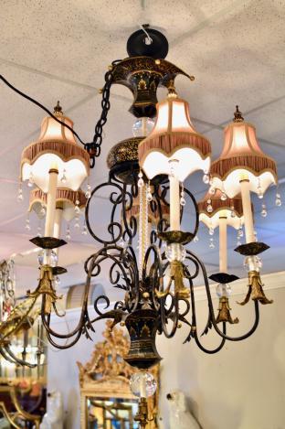 Black & Gold 6-arm chandelier