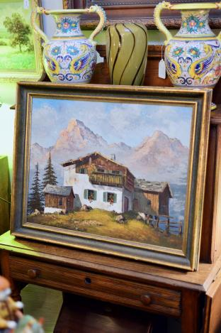 Oil on canvas of mountain cabin