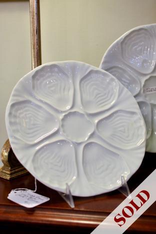 Vintage French white oyster plate - Limoges