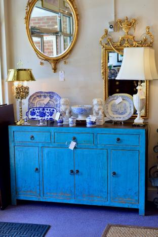 Blue distressed cabinet
