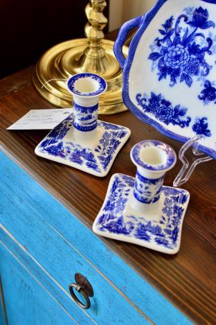 Pair of blue & white Churchill pottery candlesticks