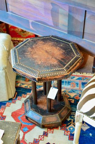 Small octagon leather table