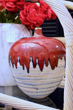 Large red & white drip pottery vase