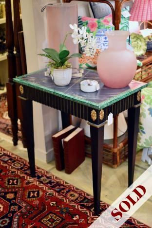 Black hand painted table