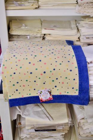 Excellent quality heavy linen w/ dots