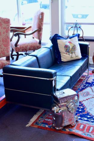 Cartwright leather mid century modern sofa