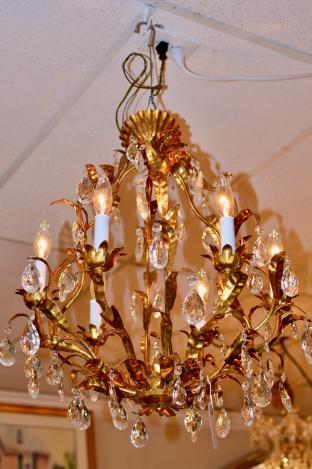 Italian gold gilt chandelier