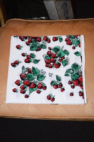 Vintage Tablecloth with Strawberry Pattern