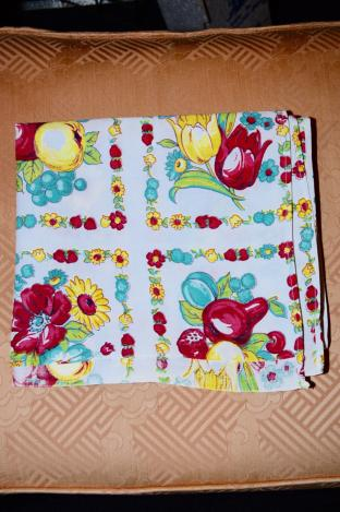 Vintage Table Cloth with Alternating Blocks of Fruit / Flowers