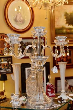 Candelabra single, crystal cut – polished.