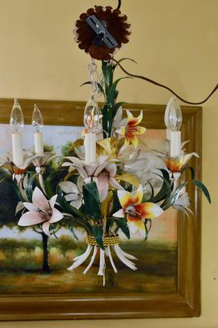 Tole painted chandelier