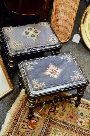 Pair of Victorian ebonized footstools