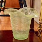 Green art glass basket