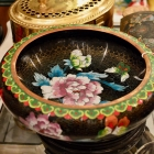 Antique Chinese cloisonné bowl & stand