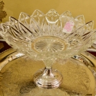 Elegant sterling silver and glass centerpiece compote bowl