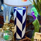 Navy/white lamp (1 of pair)
