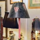 Painted candlestick lamp w/ matching hand painted shade