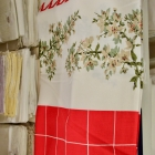 Table cloth - red center w/ tree branches