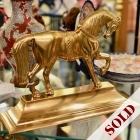 Vintage solid brass English show horse door stop