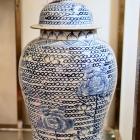 Blue & White large chain link jar