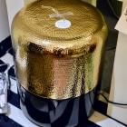 Glass & gold garden stool