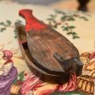 Early 19th C. primitive wooden duck salt & pepper