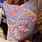 Blue w/ pink florals pillow. 1 of pair
