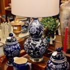 Cobalt blue/white porcelain lamp