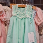 Mint poly cotton French Acadian sundress w/ hand embroidery