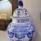 Large blue & white jar