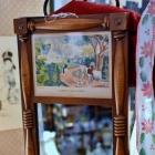 "Vintage mid century ""Currier & Ives"" print mirror in wood frame"