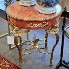 French winged leg round table w/ brass ormolu